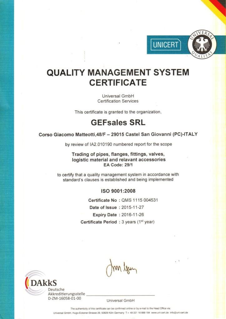 Certificato UNICERT ISO 9001 EN